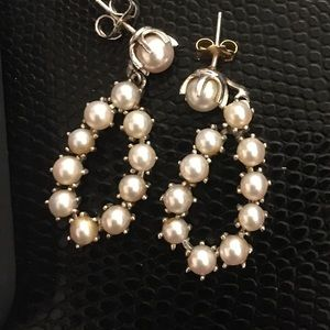 Dangling Pearl Earrings with Stud Backing